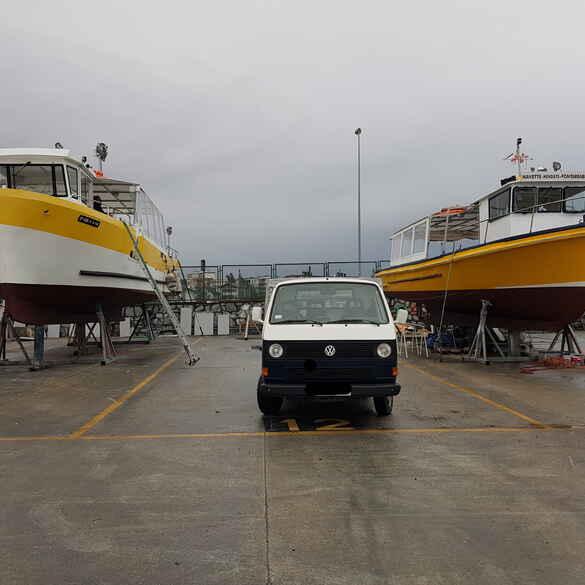 frontiere, bateau, Hendaye, catamaran